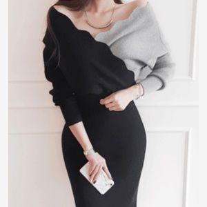 Dresses & Skirts - Off Shoulder Wool Knit  Dress